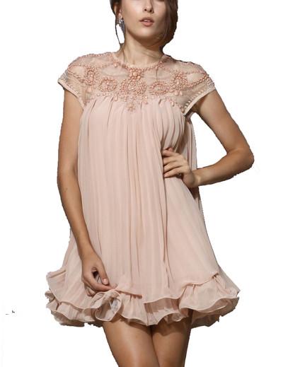 /beaded-lace-pleated-layered-chiffon-dress-p-875.html