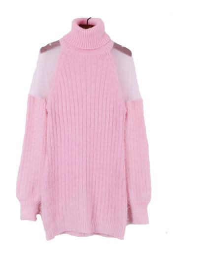 /women-mohair-mesh-sheer-shoulder-turtle-neck-long-sweater-pink-p-1222.html