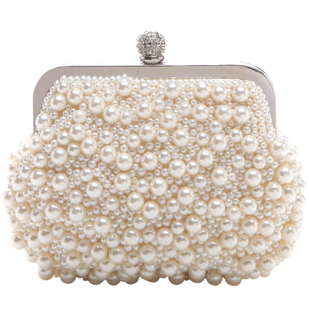 Exquisit Handmade Pearl Beads Rhinestone Closure Evening