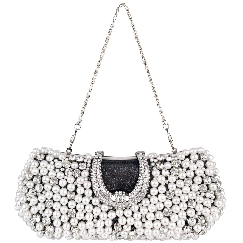 Bling Handmade Pearl Beads Rhinestone Closure Hard Case Rectangle Evening Bag Handbag Purse 2 Chains Straps B77917c