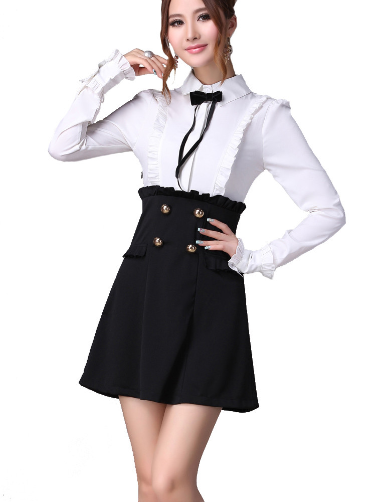 Black White Contrast Ruffle Bow Tie Blouse A-line skirt Dress ...