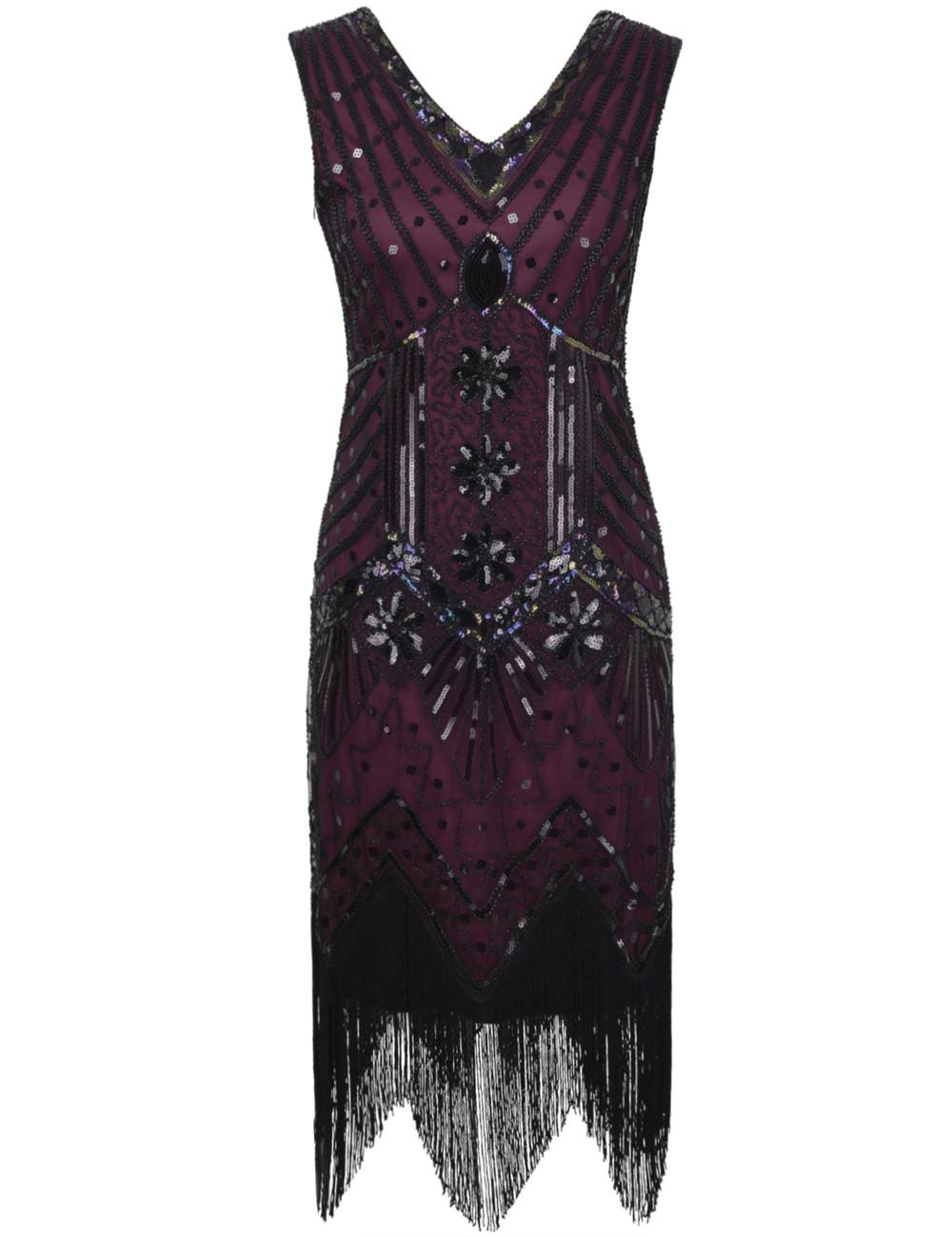 Frauen Sequin Fringe 1920er Jahren Flapper Kleid inspiriert ...