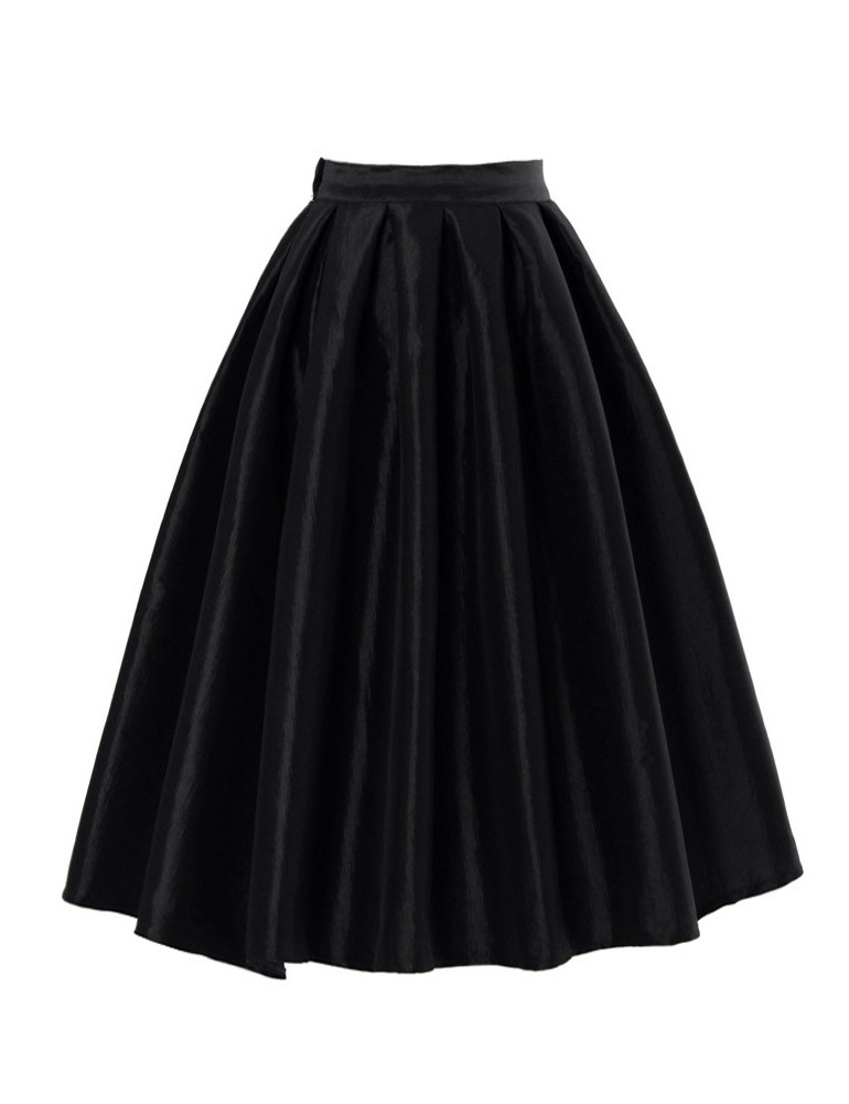 black high waist a line pleated midi skirt