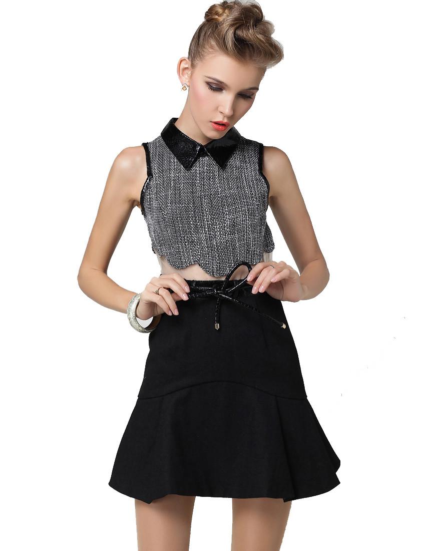 Women Tweed Houndstooth Crop Top Swing Skirt Dress - PrettyGuide