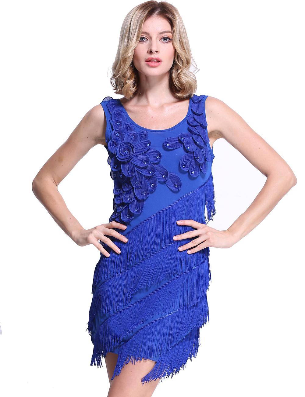 Blue Flower Fringe Ornate Double Side Flapper Dress - PrettyGuide