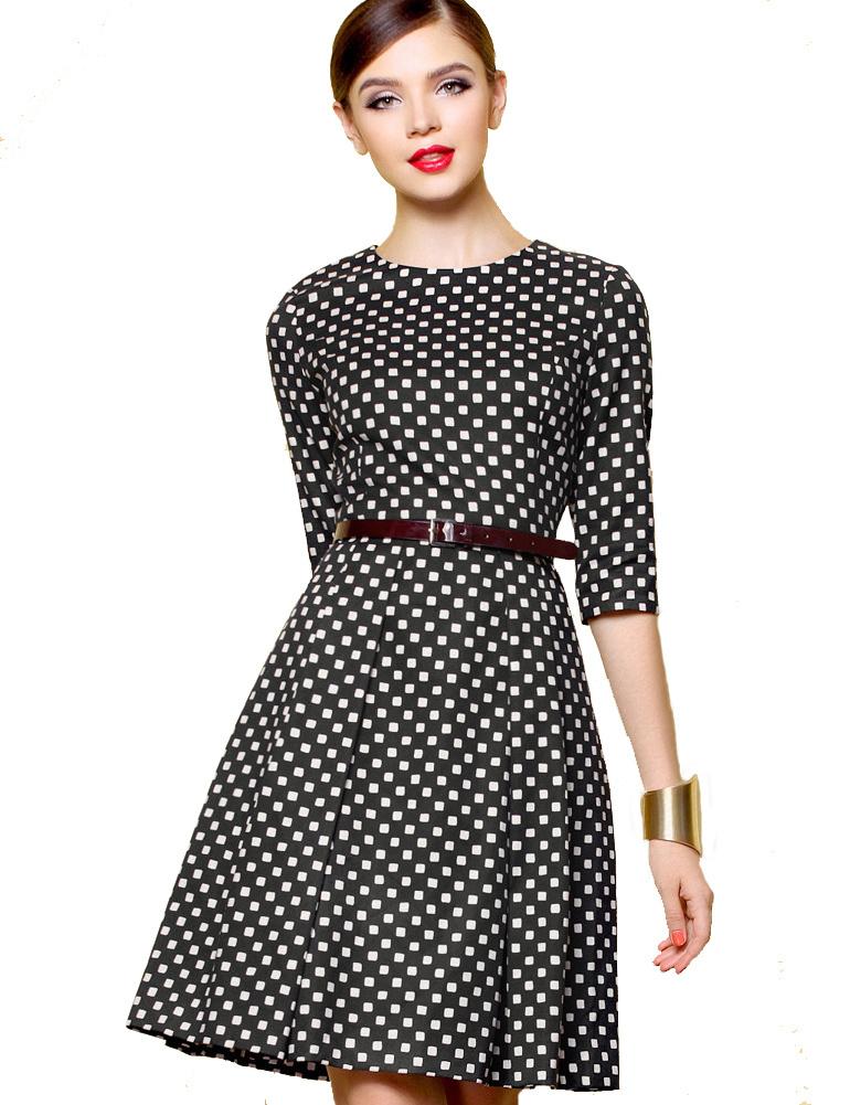 60 39 s rockabilly black white dot half sleeve pin up swing dress prettyguide. Black Bedroom Furniture Sets. Home Design Ideas