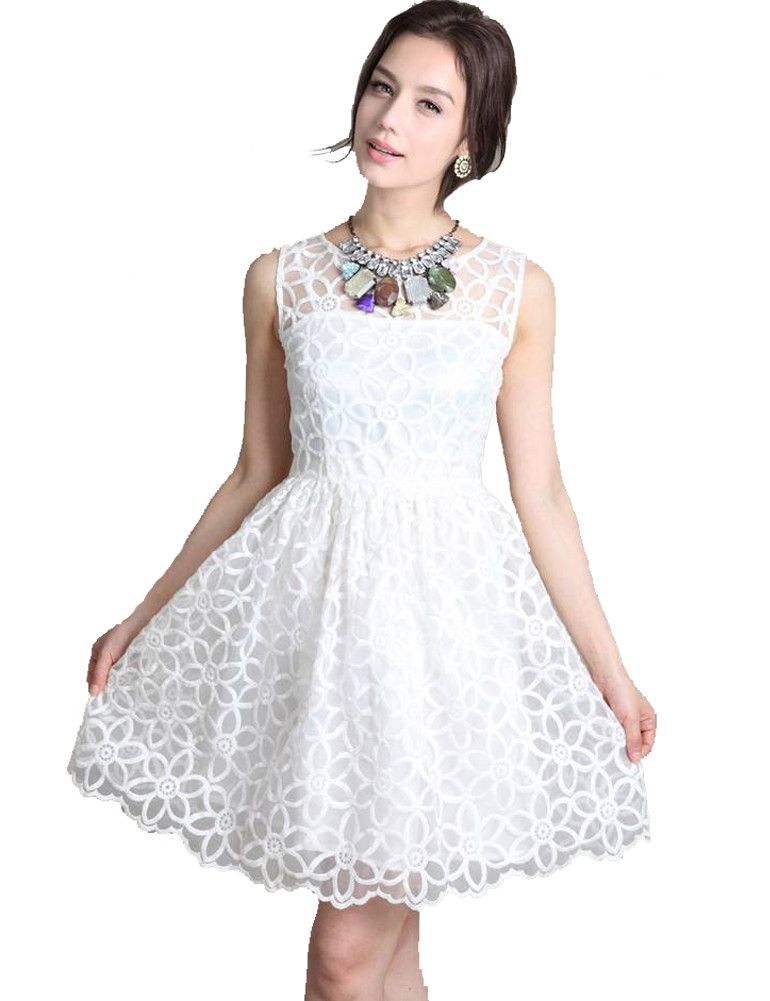 Organza oversize floral embroidery lace sleeveless dress