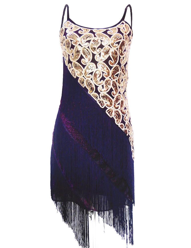 Womens 1920s Vintage Sequined Paisley Fringe Gatsby Flapper Costume Dance Dress
