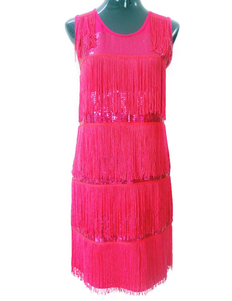 pink 1920s sequin embellished layered tassel flowy dress