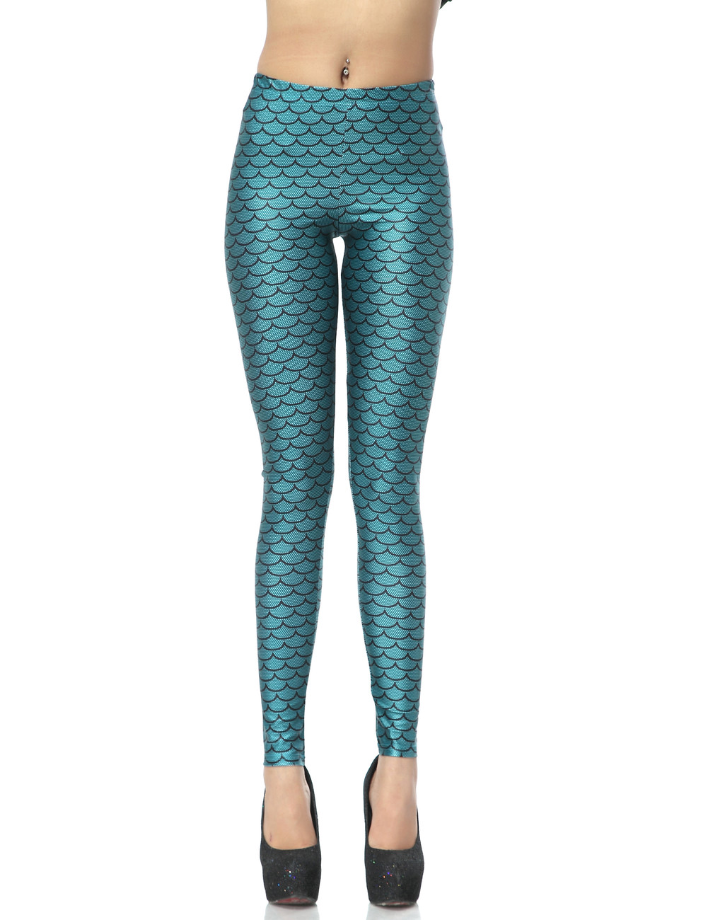 women enchanted mermaid fish scale printed tights leggings