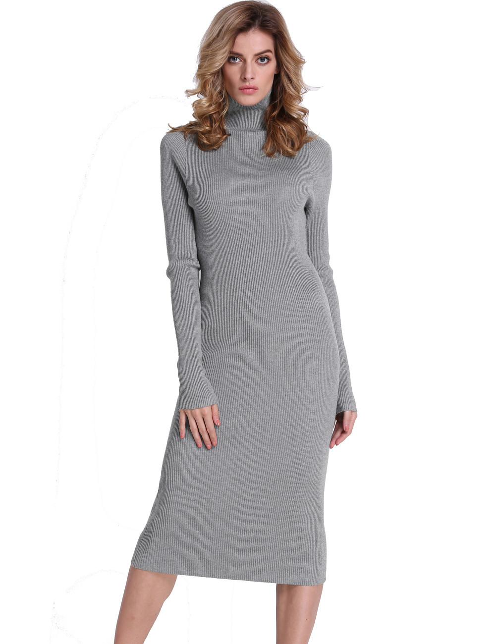 8447beefdad Ribbed Turtleneck Midi Length Sweater Dress Light Gray - PrettyGuide
