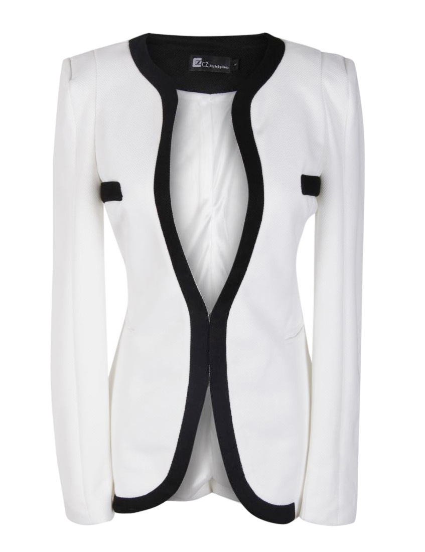 Womens Black And White Blazer