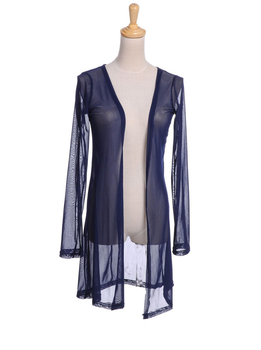 See-through Mesh Key Hole Back Long Sheer Maxi Cardigan - PrettyGuide