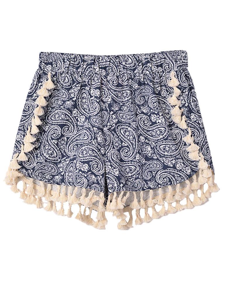 Waist Paisley Pattern Totem Tassel Shorts Prettyguide