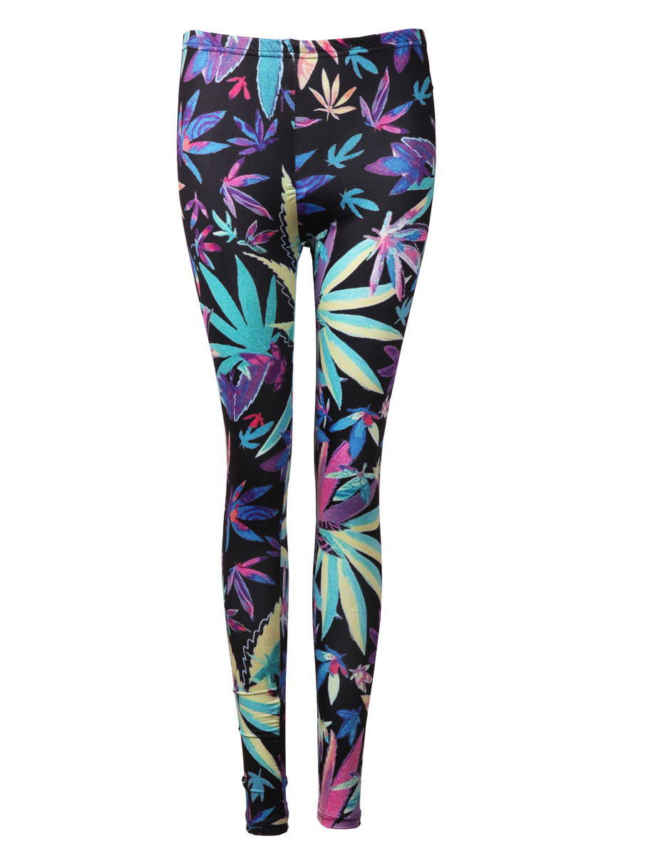 weed maple leaf print bodycon leggings tights pants prettyguide