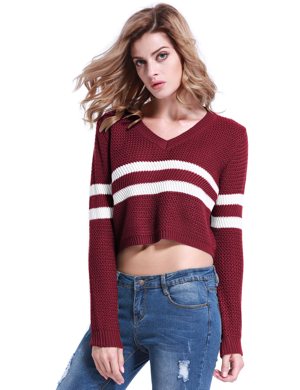 V-neck Striped Knit Crop Sweater Burgundy - PrettyGuide