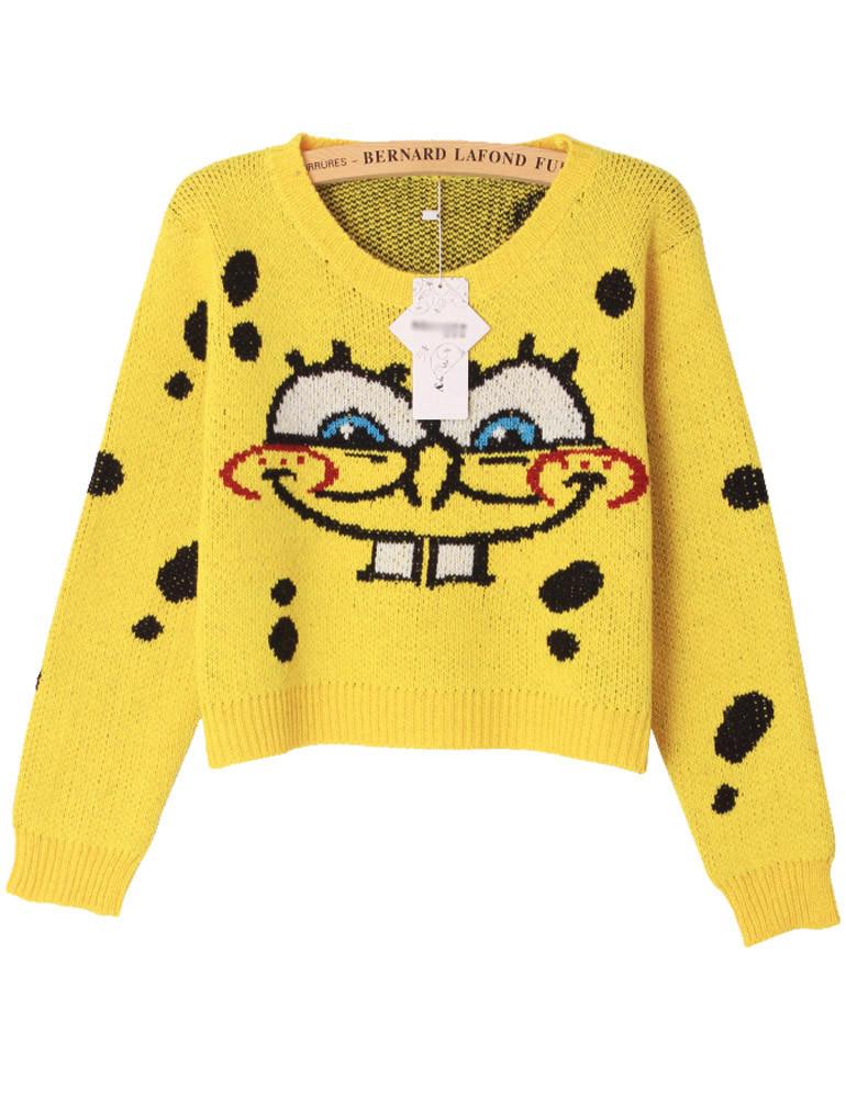 SpongeBob Knit Crop Sweater - PrettyGuide