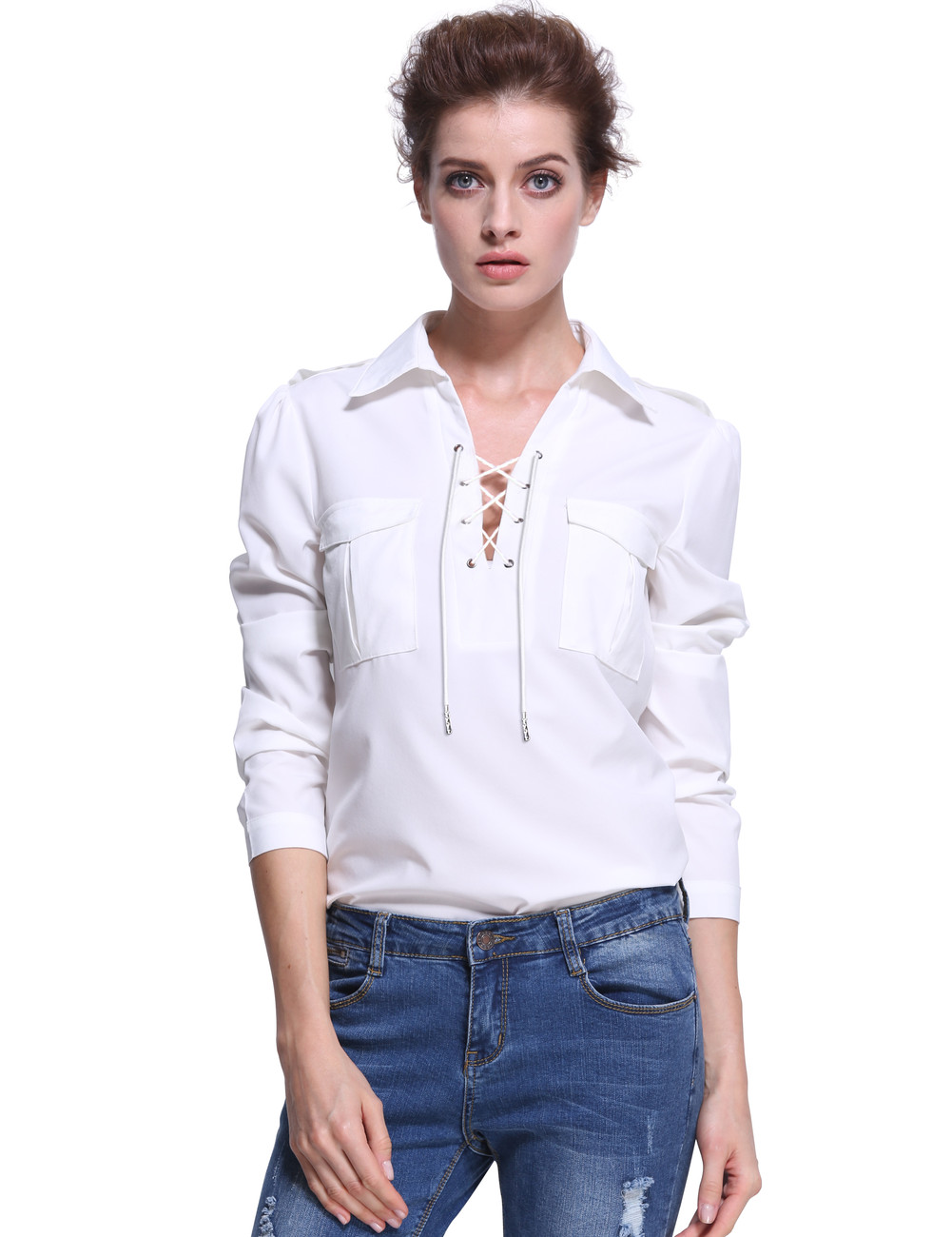 454340841e V Neck Lace Up Modern Essential Pockets Front Blouse White - PrettyGuide