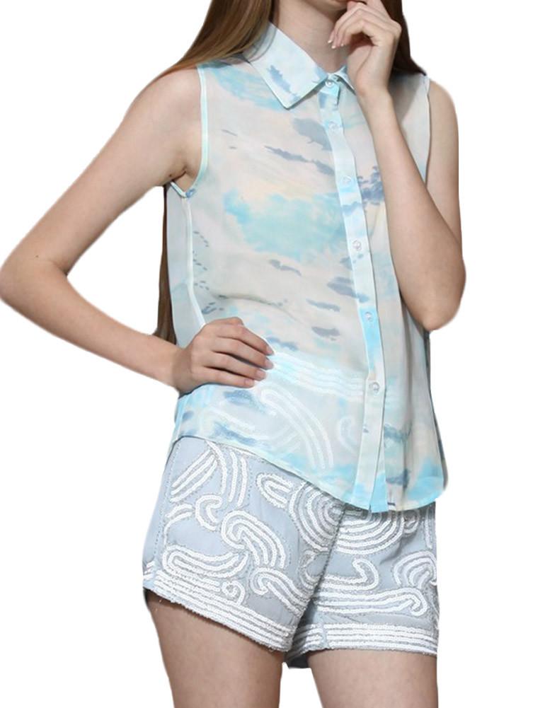 Sheer chiffon tie dye print collar sleeveless shirt top for Tie dye sleeveless shirts