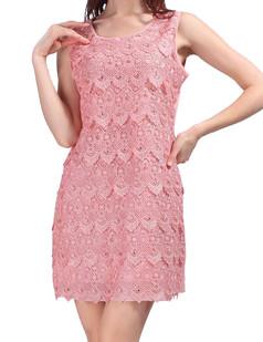 /lace-seashell-pattern-beads-embellished-dress-pink-p-3654.html