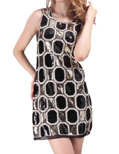 /plaid-fine-embroidered-sequins-dress-black-p-4330.html