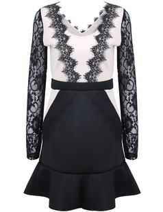 /de/contrast-lace-long-sleeve-ruffle-dress-black-p-1338.html