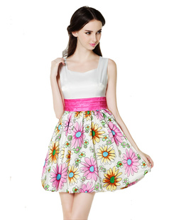 /de/women-daisy-print-sleeveless-satin-bubble-party-dress-p-660.html
