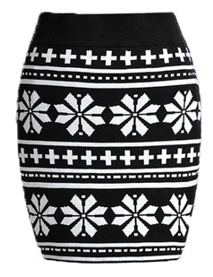 /black-and-white-snowflakes-printing-knit-skirt-p-4678.html