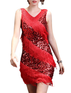 /red-v-neck-sequin-deco-asymmetrical-fringed-dress-p-6240.html