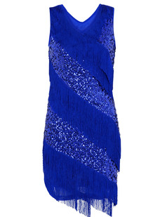 /blue-v-neck-sequin-deco-asymmetrical-fringed-dress-p-6246.html