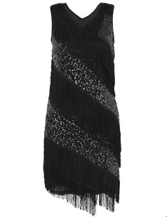 /black-v-neck-sequin-deco-asymmetrical-fringed-dress-p-6242.html
