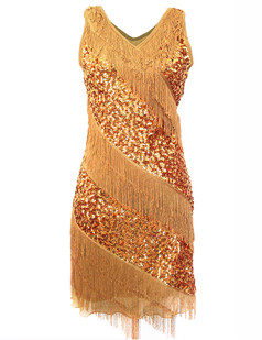 /gold-v-neck-sequin-deco-asymmetrical-fringed-dress-p-6238.html