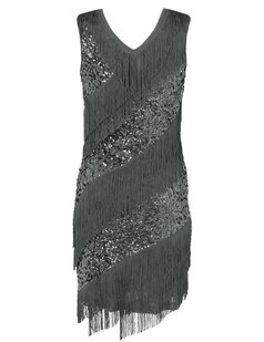/silver-v-neck-sequin-deco-asymmetrical-fringed-dress-p-6248.html