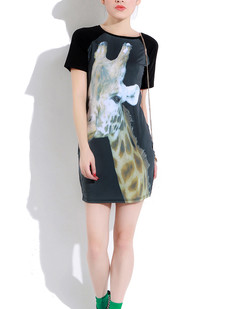 /women-animal-giraffe-printing-pattern-short-sleeve-tee-mini-dress-p-285.html