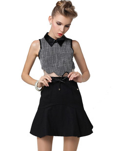 /ru/women-tweed-houndstooth-crop-top-swing-skirt-dress-p-1189.html