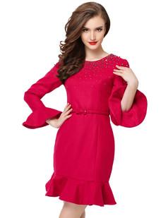 /rose-red-beaded-ruffle-sleeve-fishtail-woolen-dress-p-6208.html