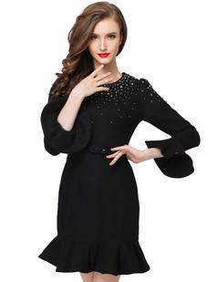 /black-beaded-ruffle-sleeve-fishtail-woolen-dress-p-6216.html