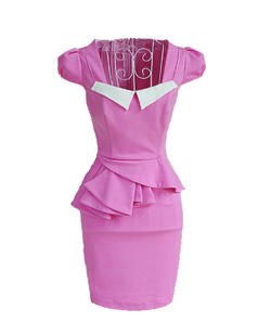 /pink-slim-peplum-shift-pencil-stretch-dress-p-941.html