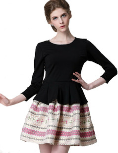 /women-high-waist-peplum-ethinic-stripe-dress-p-966.html