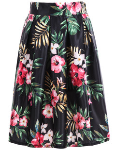 /tropical-floral-pleated-print-skirt-black-p-6134.html