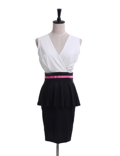 /contrast-deep-v-peplum-slim-pencil-dress-p-951.html