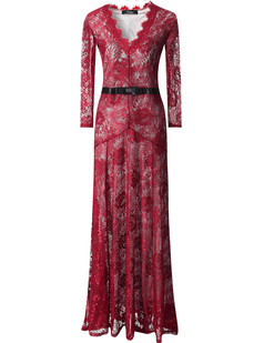 /burgundy-floral-lace-23-sleeves-long-bridesmaid-maxi-dress-p-6610.html