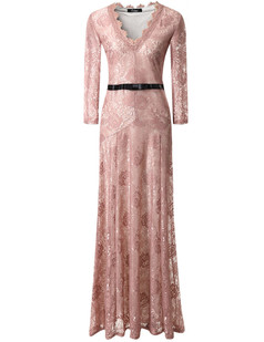 /pink-floral-lace-23-sleeves-long-bridesmaid-maxi-dress-p-6598.html