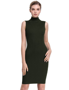 /ru/sleeveless-turtleneck-ribbed-knit-casual-bodycon-dress-green-p-7662.html