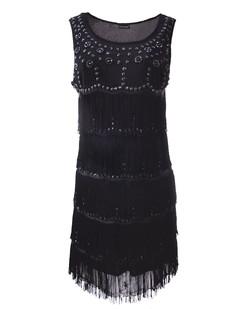 bde25c3df68 Black 1920s Flapper Beaded Tiered Fringe Dance Party Dress