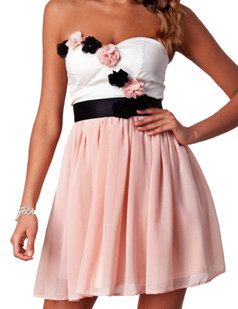 /strapless-contrast-color-solid-flower-ornament-dress-pink-p-3312.html