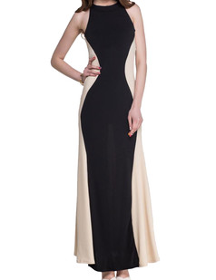 /contrast-cutaway-neckline-apricot-sleeveless-maxi-dress-black-p-3292.html