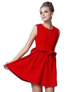 /red-sleeveless-peplum-waist-bud-dress-p-1230.html