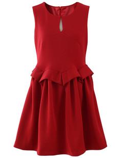 /red-sleeveless-peplum-waist-bud-dress-p-1231.html