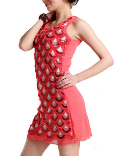 /watermelon-red-sequins-mermaid-fish-scale-pattern-shift-dress-p-1926.html